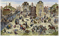0009687 © Granger - Historical Picture ArchiveMASSACRE OF HUGUENOTS.   The massacre of the Huguenots in Paris, France, on St. Bartholomew's Day, 24 August 1572. Color engraving after the painting by Francois Dubois, a Huguenot eyewitness.
