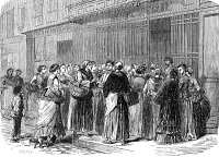 0012845 © Granger - Historical Picture ArchiveSIEGE OF PARIS, 1870.   Housewives queuing outside a butcher shop during the German Siege of Paris. Wood engraving from a French newspaper of 1870.