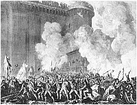 0015363 © Granger - Historical Picture ArchiveFRENCH REVOLUTION, 1789.   The Storming of the Bastille, 14 July 1789. French etching by Jean-Louis Prieur, 1817.