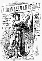 0016278 © Granger - Historical Picture ArchivePARIS COMMUNE, 1871.   Lithograph by Paul Hadol of Marianne drawing back a curtain to reveal who has controlled France for the previous twenty years. Title-page of the series 'La Menagerie imperiale,' 1870.