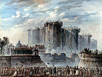 0020888 © Granger - Historical Picture ArchiveFRENCH REVOLUTION, 1789.   The beginning of the demolition of the Bastille, 16 July 1789. Contemporary watercolor by Jean Pierre Louis Laurent Hoüel.