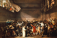 0020907 © Granger - Historical Picture ArchiveTHE TENNIS COURT OATH, 1789.   The Tennis Court Oath, 20 June 1789. Oil sketch attributed to Jacques-Louis David.