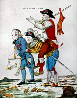 0020909 © Granger - Historical Picture ArchiveFRENCH REVOLUTION, 1792.   'Peasant's Revenge.' Cleric leading a peasant on a noble's back. French colored etching, 1792.