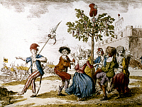 0020917 © Granger - Historical Picture ArchiveFRENCH REVOLUTION, 1792.   Dancing around the Liberty Tree to celebrate the Austrian defeat during the French Revolution. French color engraving, 1792.