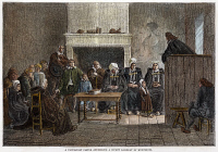 0028387 © Granger - Historical Picture ArchiveHUGUENOT ASSEMBLY, 1685.   'A Protestant Pastor Addressing a Secret Assembly of Huguenots.'  Engraving, 19th century.