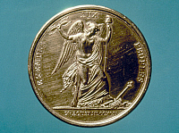 0029105 © Granger - Historical Picture ArchiveFRENCH REVOLUTION, 1792.   Liberty treading on royalty, after the 10 August 1792 capture of Louis XVI. French bronze medallion, 1793.