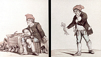 0034493 © Granger - Historical Picture ArchiveFRENCH REV: SANS-CULOTTE.   Left: Sans-culotte guards a suspect's officially sealed home. Right: the seal lifted, he pockets silverware.