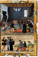 0034856 © Granger - Historical Picture ArchiveFRENCH COURTIERS.   Meeting of notaries and secretaries of King Francis I of France. French manuscript illumination, 16th century.