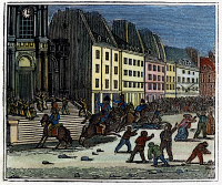 0040787 © Granger - Historical Picture ArchiveFRENCH REVOLUTION, 1830.   Street fighting before the Church of St Roch in Paris during the revolution of July 1830. Wood engraving, American, c1835.