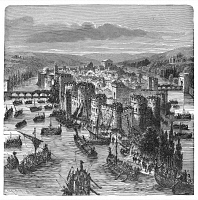 0041294 © Granger - Historical Picture ArchiveNORSEMEN IN PARIS, 885 A.D.   A fleet of Norsemen under the command of Rollo attacking the walled city of Paris in 885 A.D. Wood engraving, 19th century.