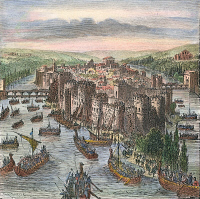 0041295 © Granger - Historical Picture ArchiveNORSEMEN IN PARIS, 885 A.D.   A fleet of Norsemen under the command of Rollo attacking the walled city of Paris in 885 A.D. Wood engraving, 19th century.