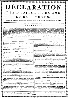 0042824 © Granger - Historical Picture ArchiveFRENCH REVOLUTION, 1789.   The Declaration of the Rights of Man as adopted by the National Assembly on 26 August 1789. An early printing distributed by the Goujon music publishers, Paris, France.