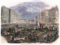 0042936 © Granger - Historical Picture ArchiveFRANCE: REVOLUTION, 1848.   Barricade on the Boulevard Montmarte in Paris at the outbreak of the Revolution of 1848. Contemporary colored engraving.