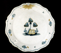 0048841 © Granger - Historical Picture ArchiveFRENCH REVOLUTION.   Faience plate decorated with liberty caps.