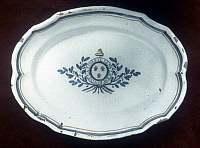 0048843 © Granger - Historical Picture ArchiveFRENCH REVOLUTION.   Faience platter with the inscription 'Vive la liberte sans licence.'