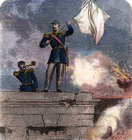 0051367 © Granger - Historical Picture ArchiveFRANCO-PRUSSIAN WAR, 1870.   French General Lauriston waves the flag of truce from the gate of the fortified town of Sedan, 1 September 1870, during the Franco-Prussian War. Wood engraving from a contemporary English newspaper.