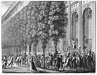 0051754 © Granger - Historical Picture ArchiveFRENCH REVOLUTION, 1789.   Camille Desmoulins haranguing Parisians at the Palais Royal on 12 July 1789, two days before the taking of the Bastille and the actual beginning of the French Revolution. French line engraving by Jean-Louis Prieur, early 19th century.