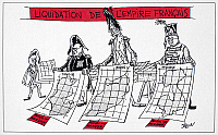 0056948 © Granger - Historical Picture ArchiveFRANCE: WITHDRAWAL, 1952.   'Sale: Liquidation of the French Empire.' A 1952 French cartoon on the withdrawal of France from Tunisia, Morocco, and Indochina after World War II.