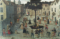 0057993 © Granger - Historical Picture ArchiveFRENCH TOWN, 16th CENTURY.   Holiday in a small French town. People dance the farandole and play jeu de mail.