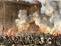 0060052 © Granger - Historical Picture ArchiveFRENCH REVOLUTION, 1789.   The Storming of the Bastille, 14 July 1789. Etching, French, 1817. French etching by Jean-Louis Prieur, 1817.