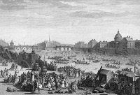 0061044 © Granger - Historical Picture ArchiveFRENCH REVOLUTION: 1790.  The water festival on the Seine in Paris on 18 July 1790, with musical barges and jousting, to celebrate the Fete de la Federation. French line engraving by Jean-Louis Prieur, early 19th century.