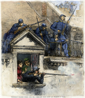 0079798 © Granger - Historical Picture ArchivePARIS COMMUNE, 1871.   'Versailles soldiers firing upon the communists from roofs and windows in Paris.' Color engraving from a contemporary American newspaper.