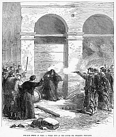 0087068 © Granger - Historical Picture ArchivePARIS COMMUNE, 1871.   'The late events in Paris: a woman shot at the Louvre for spreading petroleum.' Wood engraving from an English newspaper of 10 June 1871.