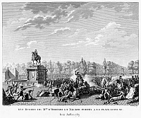 0094955 © Granger - Historical Picture ArchiveFRENCH REVOLUTION, 1789.   A crowd carrying the busts of the Duke of Orleans and Jacques Necker, two popular favorites, clash with a unit of German Guards at the Place Louis XV, 12 July 1789. Contemporary French engraving by Jean-Louis Prieur.