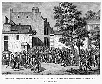 0094962 © Granger - Historical Picture ArchiveFRENCH REVOLUTION, 1789.   French soldiers rescue the Duc du Chatelet, their colonel, from a mob of revolutionaries, 12 July 1789. Contemporary French engraving by Jean-Louis Prieur.