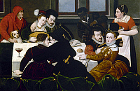 0103581 © Granger - Historical Picture ArchiveFRANCE: ELEGANT MEAL.   Painting, school of Fontainebleau, 16th century.