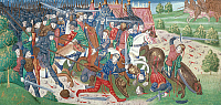0103656 © Granger - Historical Picture ArchiveHUNDRED YEARS' WAR.   English troops under the Duke of Lancaster flee from battle with the French. Manuscript illumination, 15th century, from an edition of Froissart's 'Chronicles.'