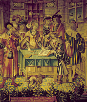 0103678 © Granger - Historical Picture ArchiveTAPESTRY: ARITHMETIC, 1520.   Noblewoman receives lesson in counting. Flemish tapestry, 1520.