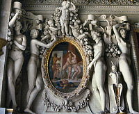 0103683 © Granger - Historical Picture ArchiveFRANCE: FRIEZE, c1528.   Marble stairway frieze, c1528, by Francisco Primaticcio, at the Palace of Fountainebleau, France.