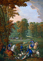 0103743 © Granger - Historical Picture ArchiveFRANCE: ROYAL HUNT, 1691.   One party of hunters attempts to untangle the hounds from a killed stag (foreground), while another closes in on a bounding stag. Oil on porcelain, 1691, from the Palace of Versailles.