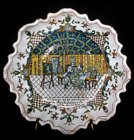0103758 © Granger - Historical Picture ArchiveFRANCE: PORCELAIN, c1739.   Porcelain faience plate produced at Rouen, France, c1739; the inscription reads, 'In love, as in painting, one always looks for the touch of nature.'