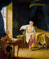 0103774 © Granger - Historical Picture ArchiveVOLTAIRE (1694-1778).  Assumed name of François Marie Arouet, French man of letters. Voltaire getting out of bed at his home at Ferney, France. Oil on canvas, late 18th century, by Jean Huber.