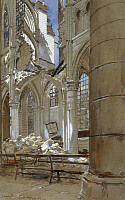 0103884 © Granger - Historical Picture ArchiveFRANCE: SOISSONS, 1915.   Ruins of the cathedral at Soissons, France, destroyed by German shelling during World War I. Oil on canvas, 1915, by Francois Flameng.