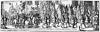0117322 © Granger - Historical Picture ArchiveFRANCE: THIRTY YEARS' WAR.   After the French victory over the Spanish army at the Battle of Rocroi, May 1643, Swiss guards carry enemy banners through the streets of Paris to Notre Dame Cathedral. Line engraving by Charles Cochin the Elder (1688-1754).