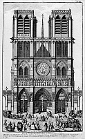 0117330 © Granger - Historical Picture ArchivePARIS: NOTRE DAME, 1748.   The facade of Notre Dame Cathedral in Paris, France. Line engraving, 1748.
