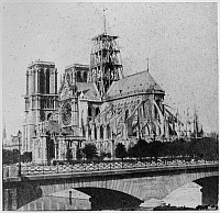 0117355 © Granger - Historical Picture ArchivePARIS: NOTRE DAME, 1850s.   Construction of the spire during the renovation of the cathedral led by Eugène Viollet-le-Duc and Jean Lassus, 1850s.