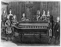 0117713 © Granger - Historical Picture ArchiveFRANCE: COURT LIFE, 1690s.   Waiting in 'The Fourth Room of the Apartments.' One in a series of etchings, 1694-1696, by Antoine Trouvain, depicting a suite of reception rooms at the Palace of Versailles.