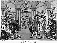 0117721 © Granger - Historical Picture ArchiveFRANCE: BALL, c1810.   'Society Ball during the Empire.' Satirical lithograph after Bosio, from the time of the Napoleonic Empire, 1804-1814.