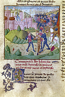 0117735 © Granger - Historical Picture ArchiveBATTLE OF POITIERS, 1356.   King John of France (Jean le Bon) surrenders at the Battle of Poitiers, 19 September 1356. Manuscript illumination from Jean Froissart's 'Chronicles,' late 14th century.
