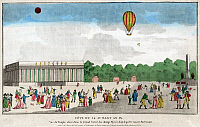 0117744 © Granger - Historical Picture ArchivePARIS: BASTILLE DAY, c1801.   The celebration of Bastille Day, 14 July, on the Avenue des Champs Elysees with spectators watching a balloon ascension in Paris, France. Etching, c1801.