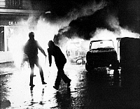 0117847 © Granger - Historical Picture ArchivePARIS STUDENT REVOLT, 1968.   A barricade of burning cars put up by students in the Latin Quarter of Paris, France, 11 May 1968.