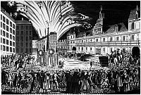 0117868 © Granger - Historical Picture ArchiveTREATY OF PARIS, 1763.   Fireworks at Hôtel de Ville in Paris celebrating the Treaty of Paris, 10 February 1763, ending the Seven Years War between Great Britain, France and Spain. Contemporary French line engraving.