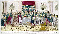 0117892 © Granger - Historical Picture ArchiveFRANCE: VERSAILLES, 1789.   King Louis XVI and Queen Marie Antoinette are toasted at a banquet at Versailles, 31 September 1789, by the Flanders regiment. Contemporary French color engraving.
