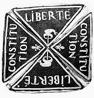 0117898 © Granger - Historical Picture ArchiveFRENCH REVOLUTION: BADGE.   Badge of French Revolutionaries given at the Military School, l'Ecole de Mars.