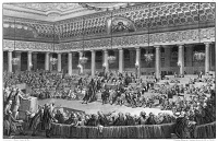 0117915 © Granger - Historical Picture ArchiveFRENCH REVOLUTION, 1789.   Scene at the National Assembly at Versailles, the night of August 4-5, 1789. Members are debating the abolition of feudal priviliges. Contemporary French line engraving after C. Monnet, painter to the King.