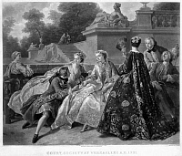 0123484 © Granger - Historical Picture ArchiveVERSAILLES: COURT LIFE.   Men and women socializing in a garden at the palace of Versailles, France, c1731. Mezzotint, German, 19th century, after a painting by Jean François de Troy.